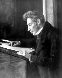 A Portrait Of Kierkegaard at his desk